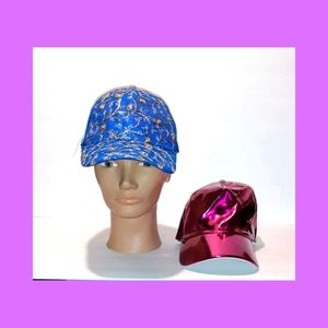 Two Glitzy Baseball Caps Sequins Metallic Pink